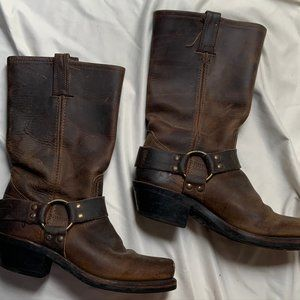 Frye Brown Harness Boots, Size 7